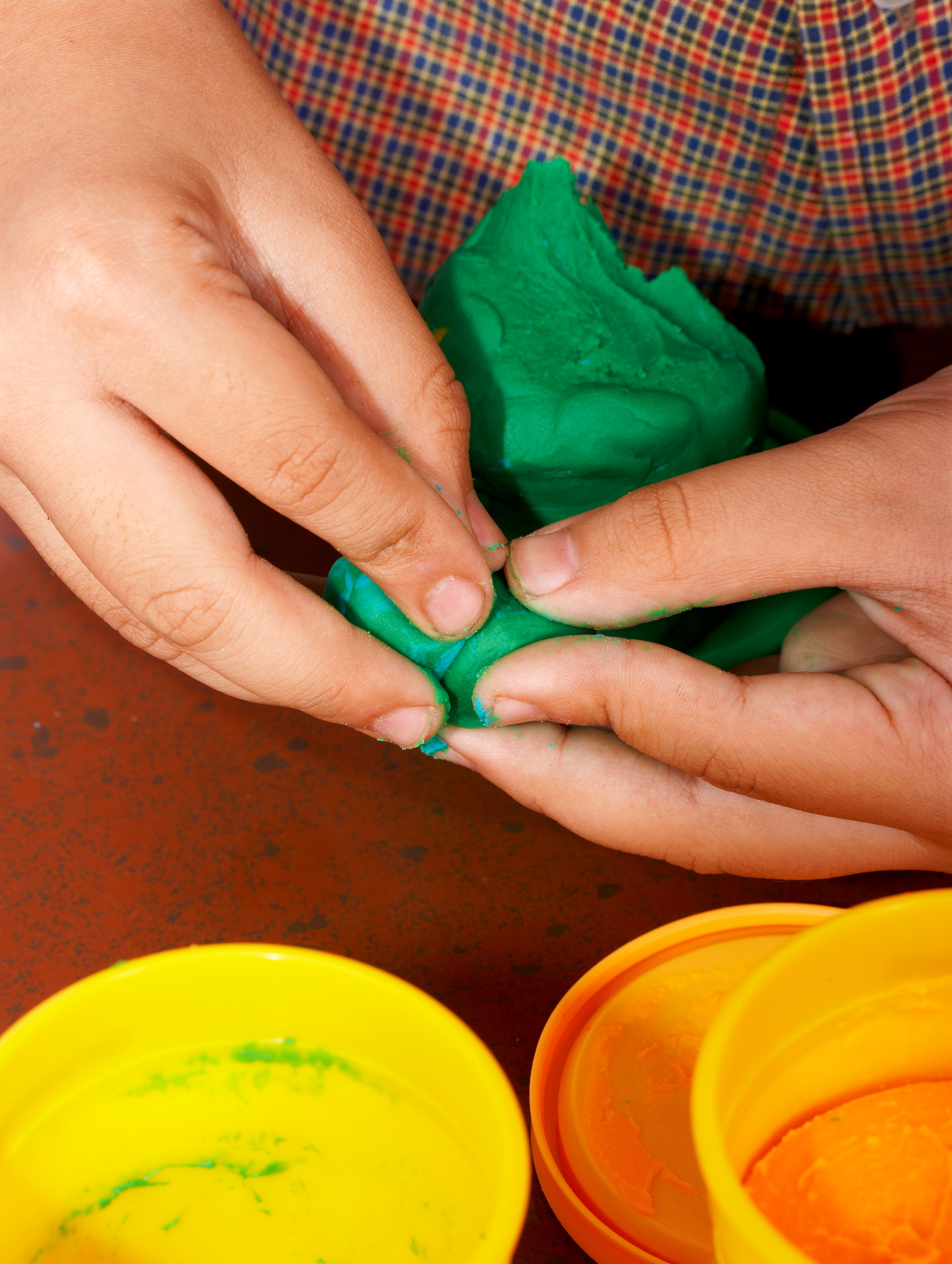 Art Therapy Child moulding playdough